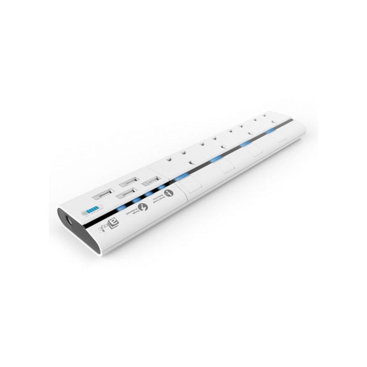 4位13A +  4組USB充電 防雷拖板 白色 APS-S1440