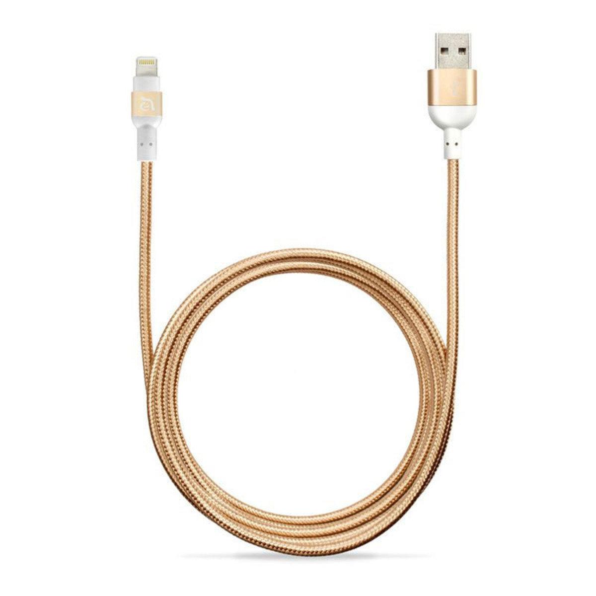 2米 Lightning 正反雙面USB同步充電線 金色