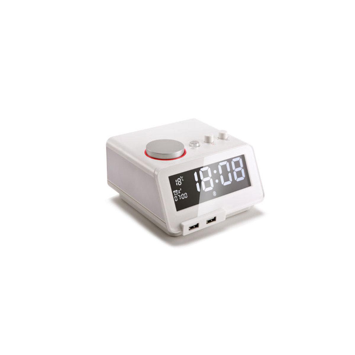 藍芽免提喇叭連充電USB座檯鬧鐘  白色 MM-C12WH