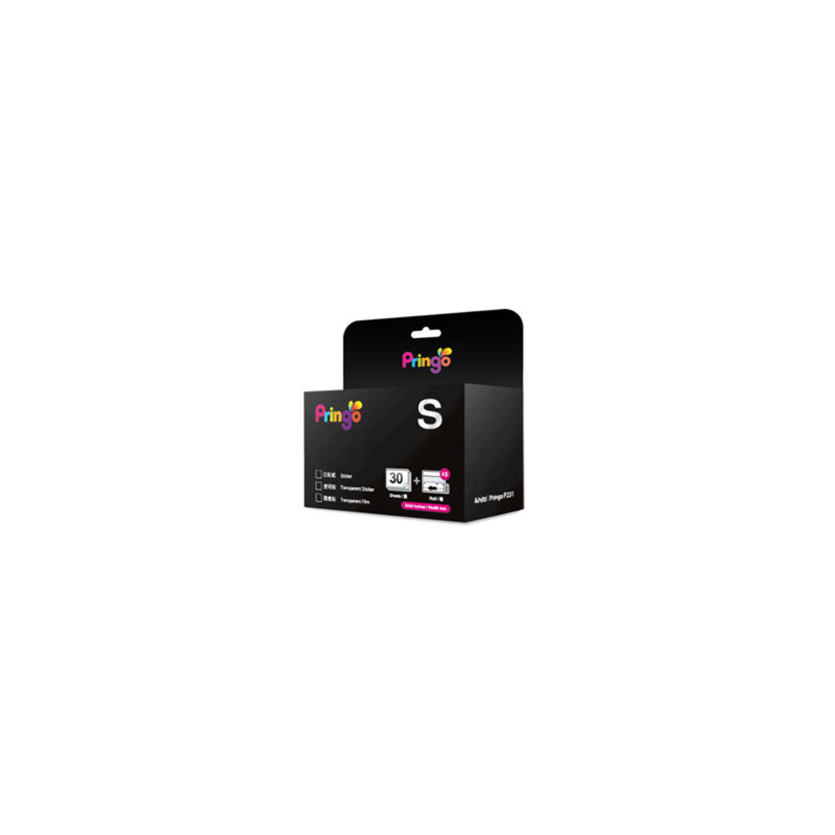 30張 P231 專用打印『隨身貼』相紙連色帶 P231 PS30-23 Transparent