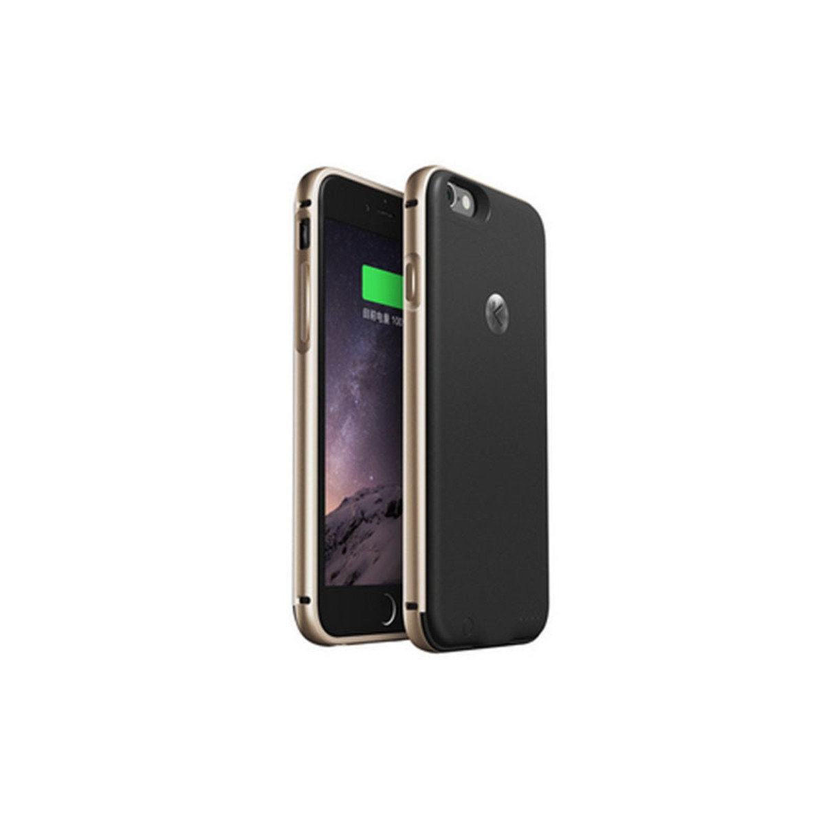 iPhone 6 / 6S 專用金屬邊框機殼連2400mAh充電池 金色+黑色