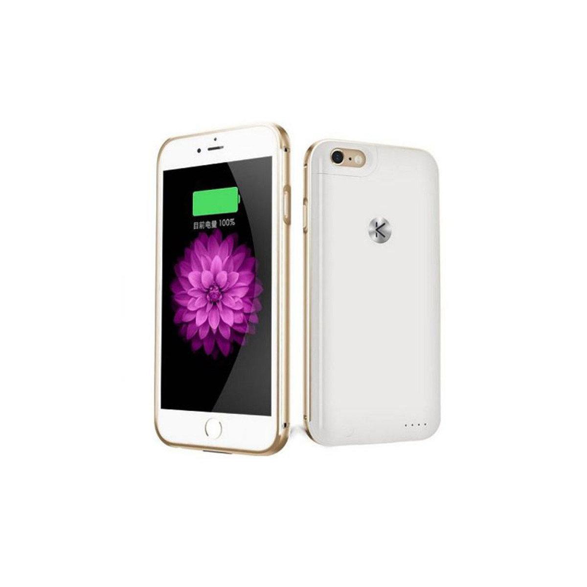 iPhone 6 / 6S 專用金屬邊框機殼連2400mAh充電池 金色+白色