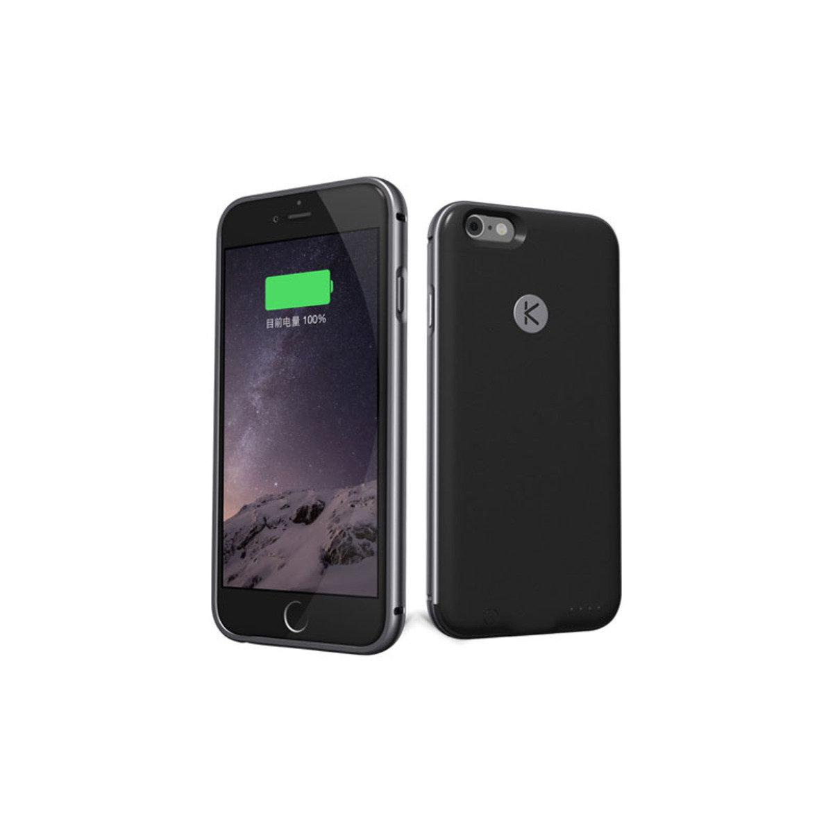 iPhone 6 / 6S 專用金屬邊框機殼連2400mAh充電池 太空灰+黑色