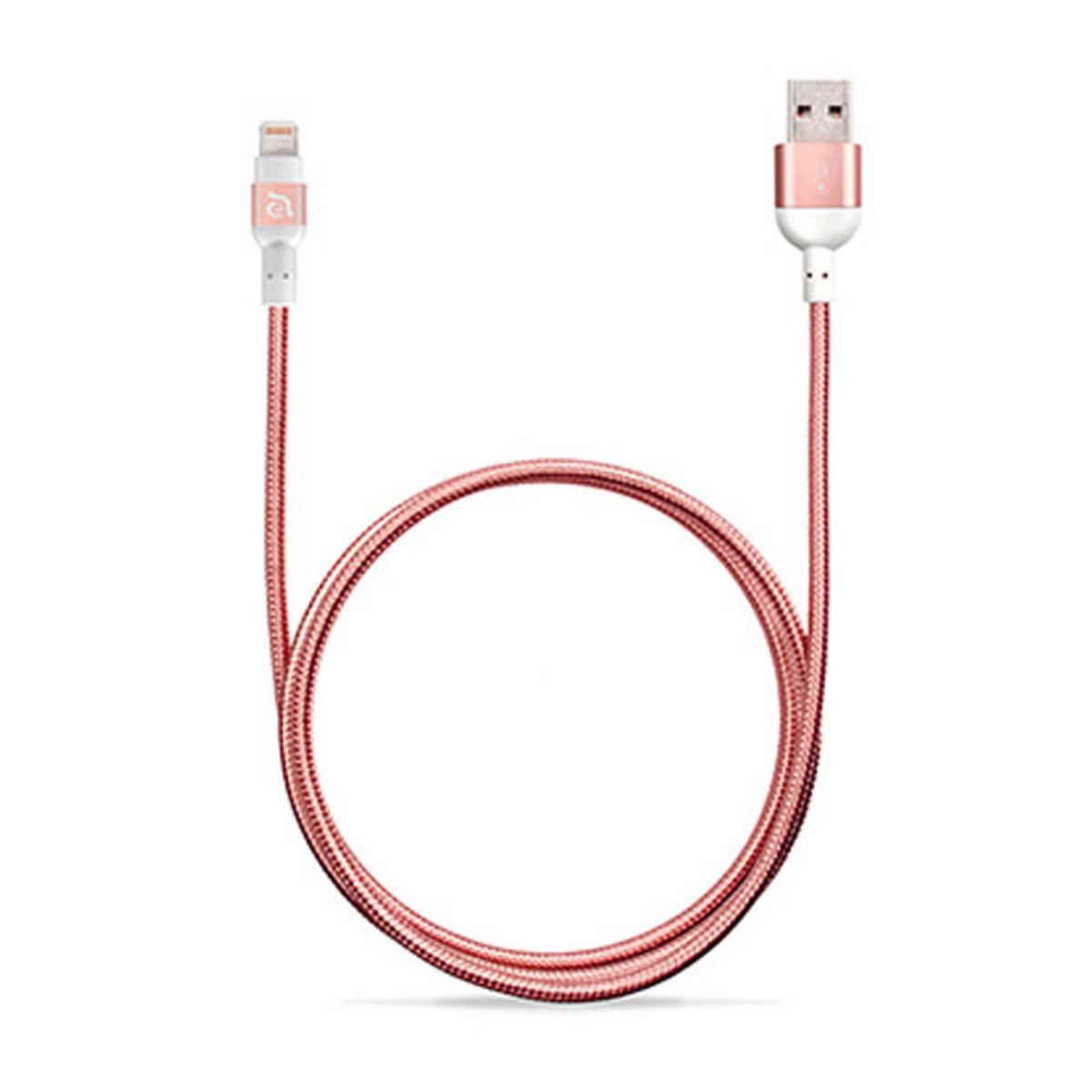 1.2米 Lightning 正反雙面USB同步充電線 玫瑰金