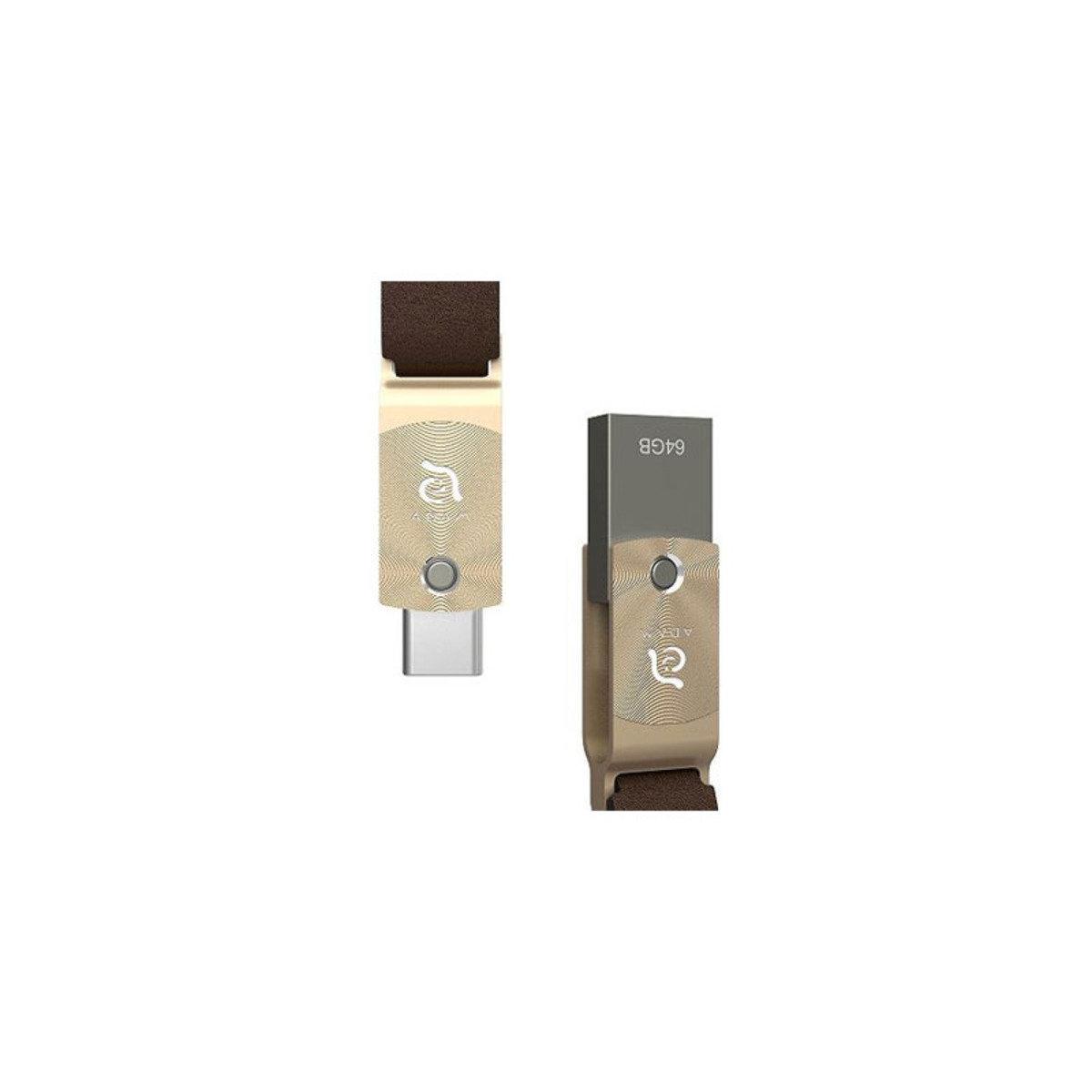 ROMA USB3.1 Type-C & A 64GB 雙頭隨身碟 金色