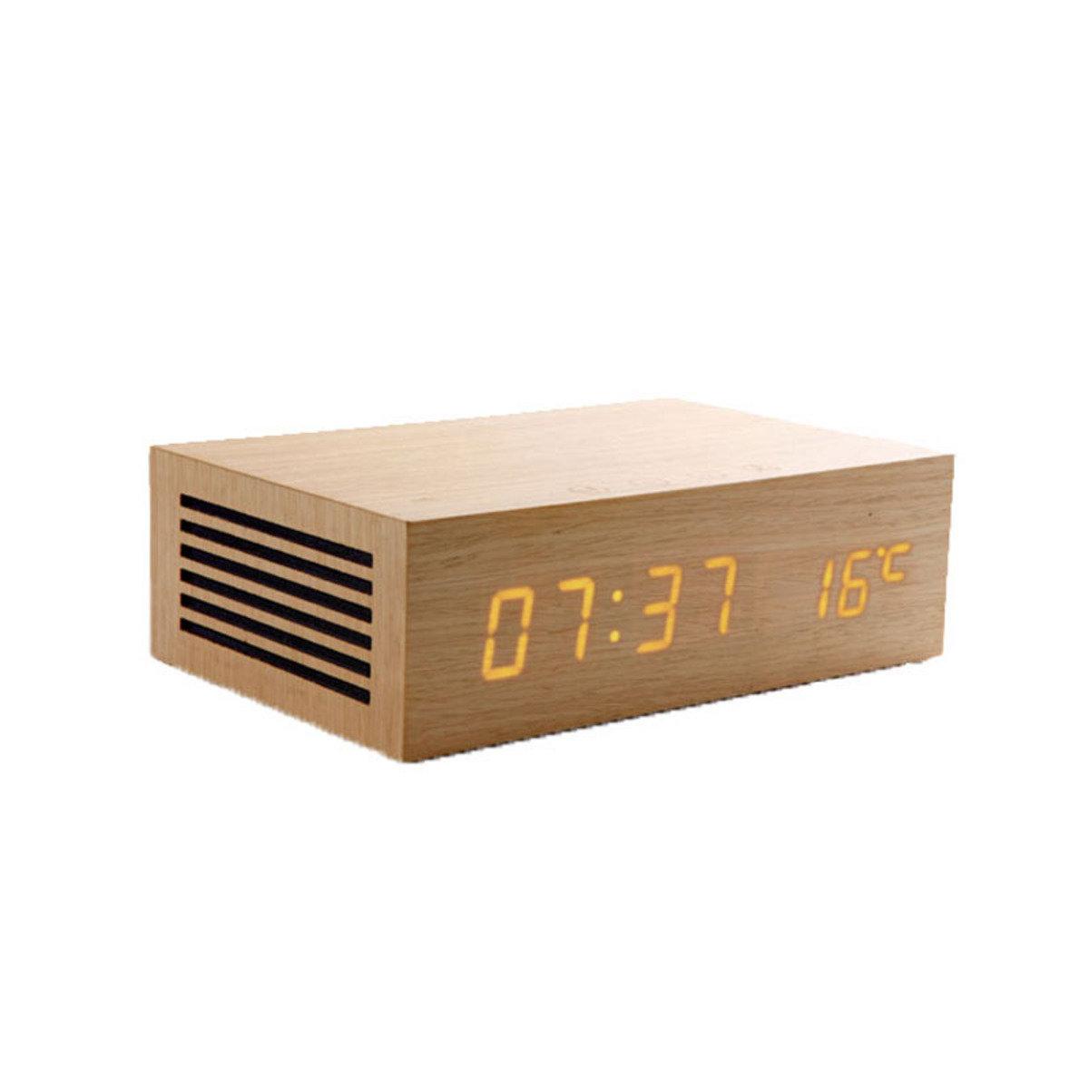 原木 藍芽喇叭連充電USB座檯鬧鐘 淺木色 MM-M9OA