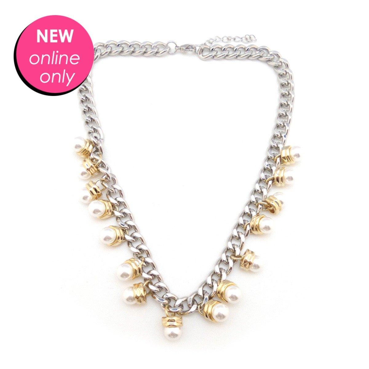 珍珠金銀拼色頸鏈