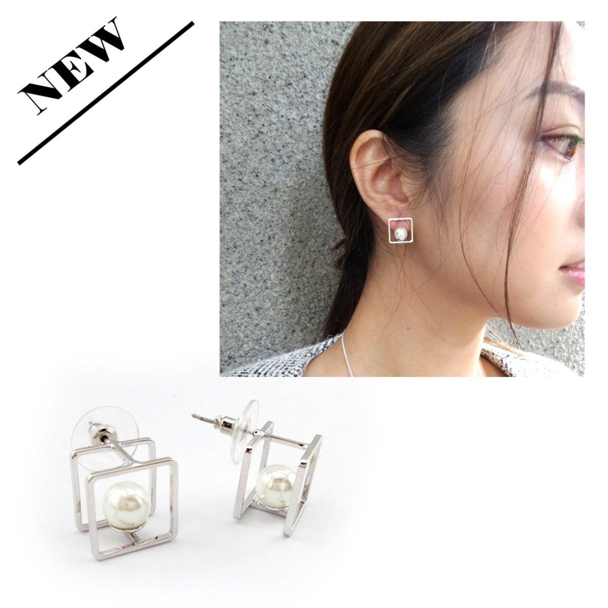 銀色四方框形拼珍珠耳環