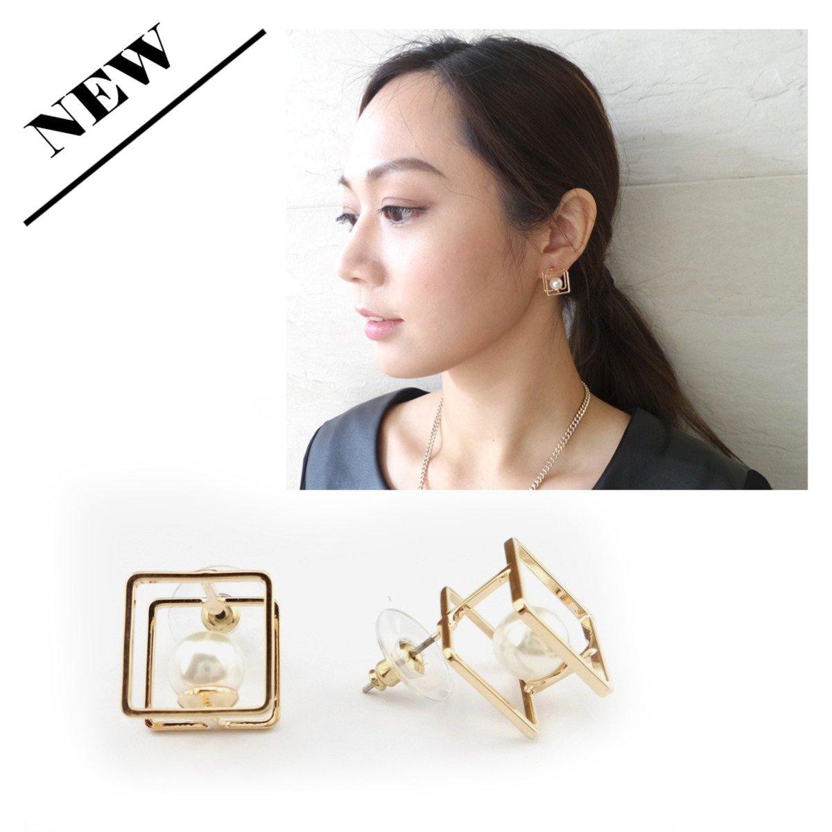 金色四方框形拼珍珠耳環