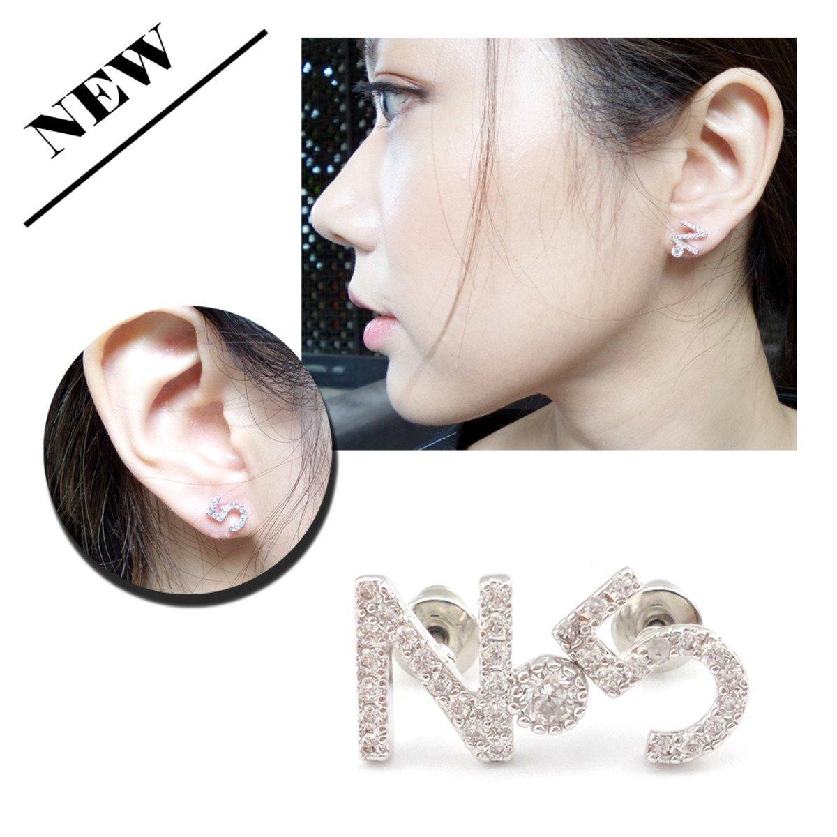 銀色No及5字耳環
