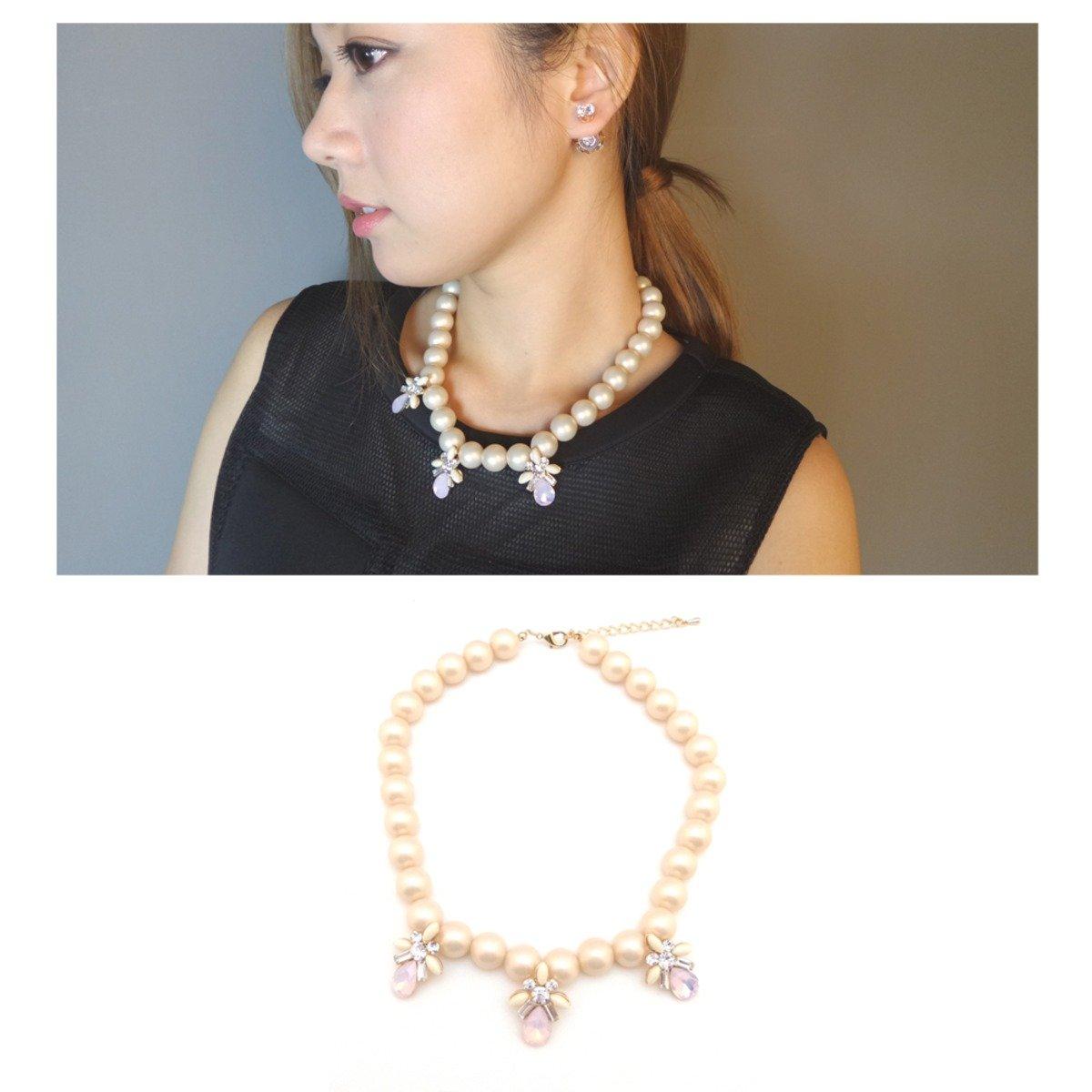 粉色人造珍珠配閃石吊飾頸鍊