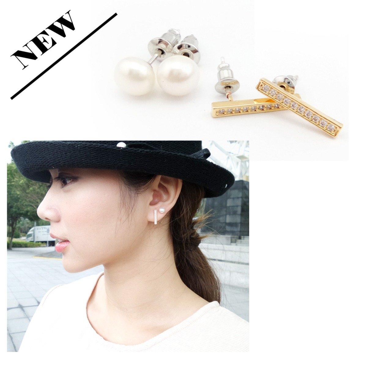珍珠橫形閃石四粒裝耳環