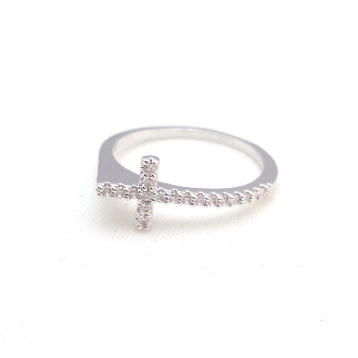 銀色十字閃石指環