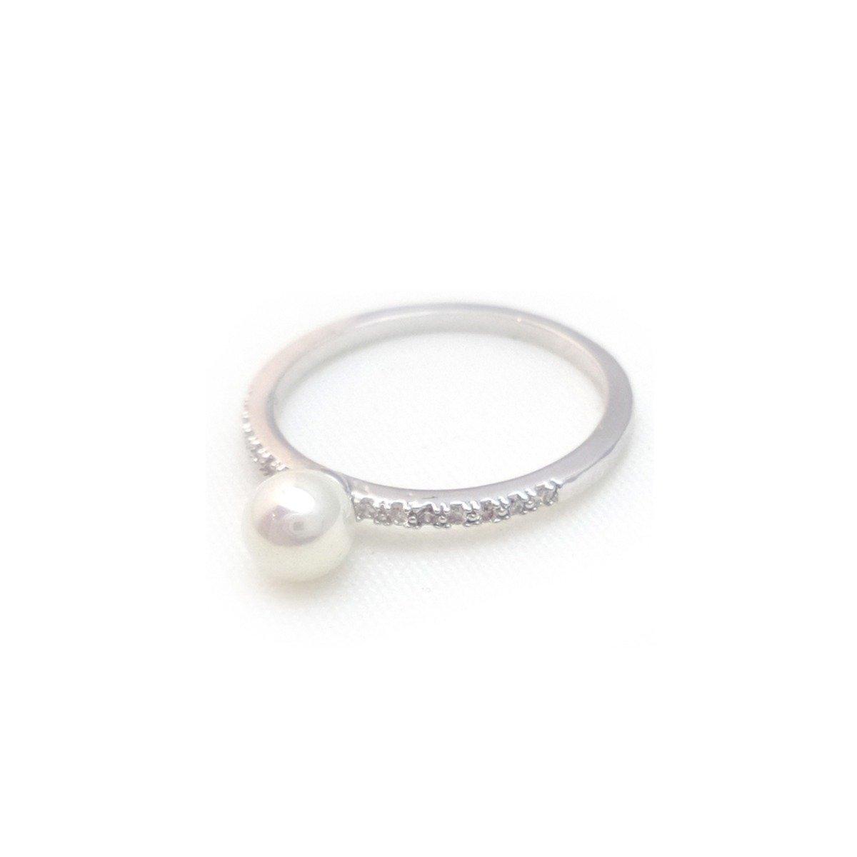 銀色仿珍珠閃石指環