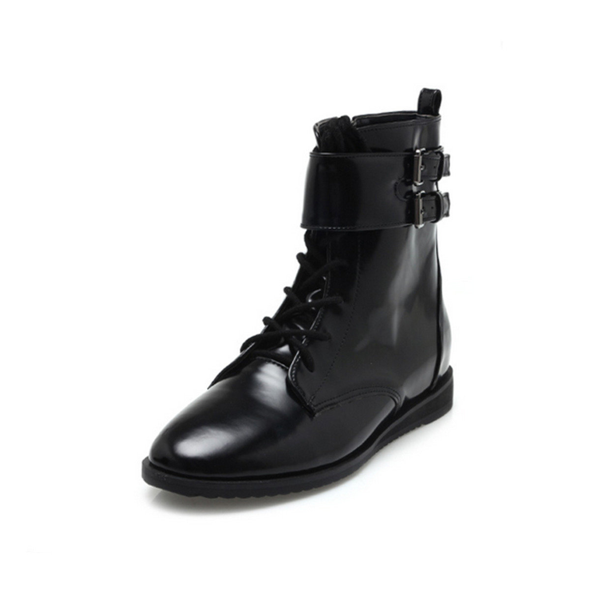 雙扣環漆皮靴