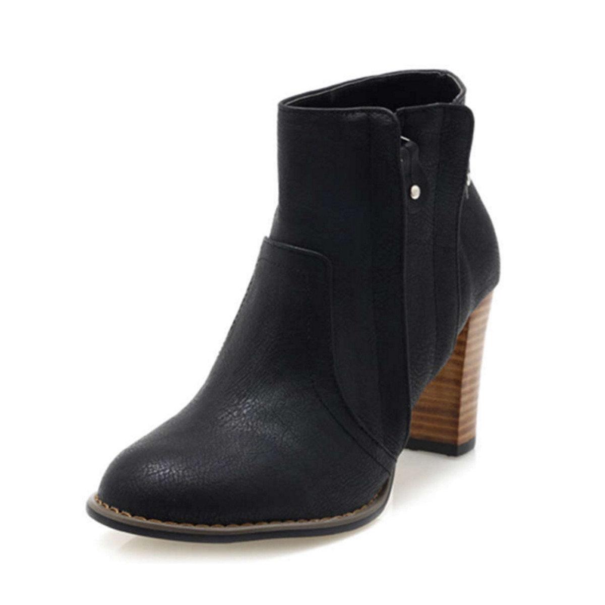 木色鞋跟雙拉鍊踝靴