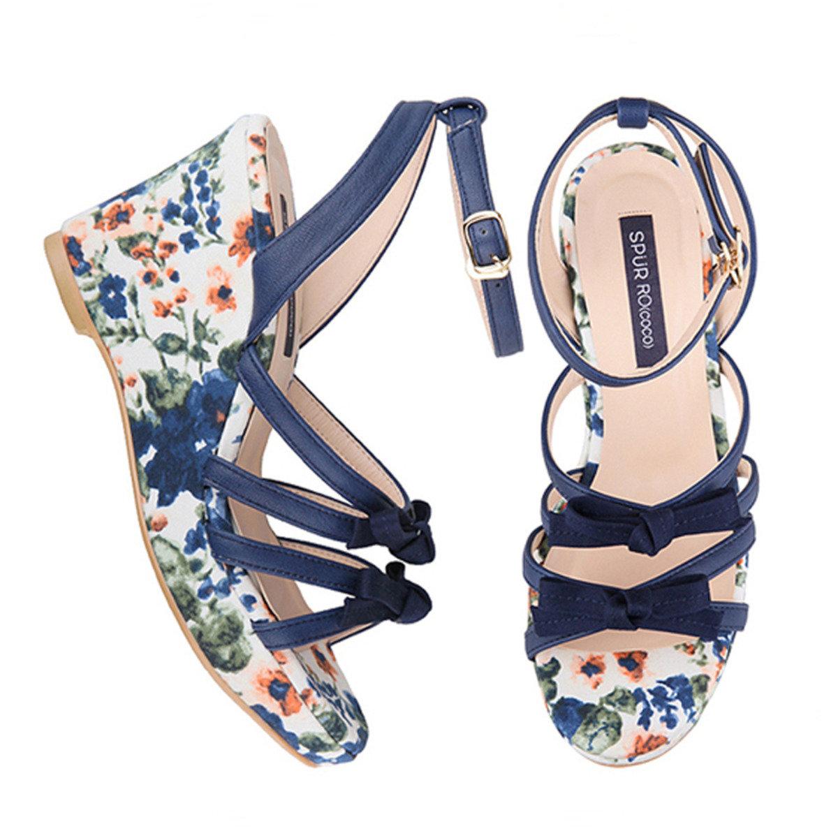 櫻花圖案船跟鞋