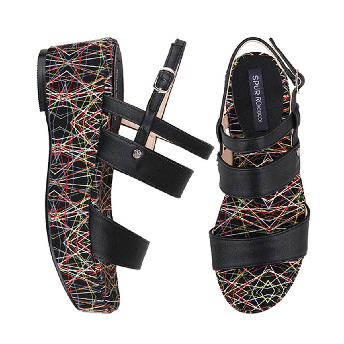 彩色線條高底鞋