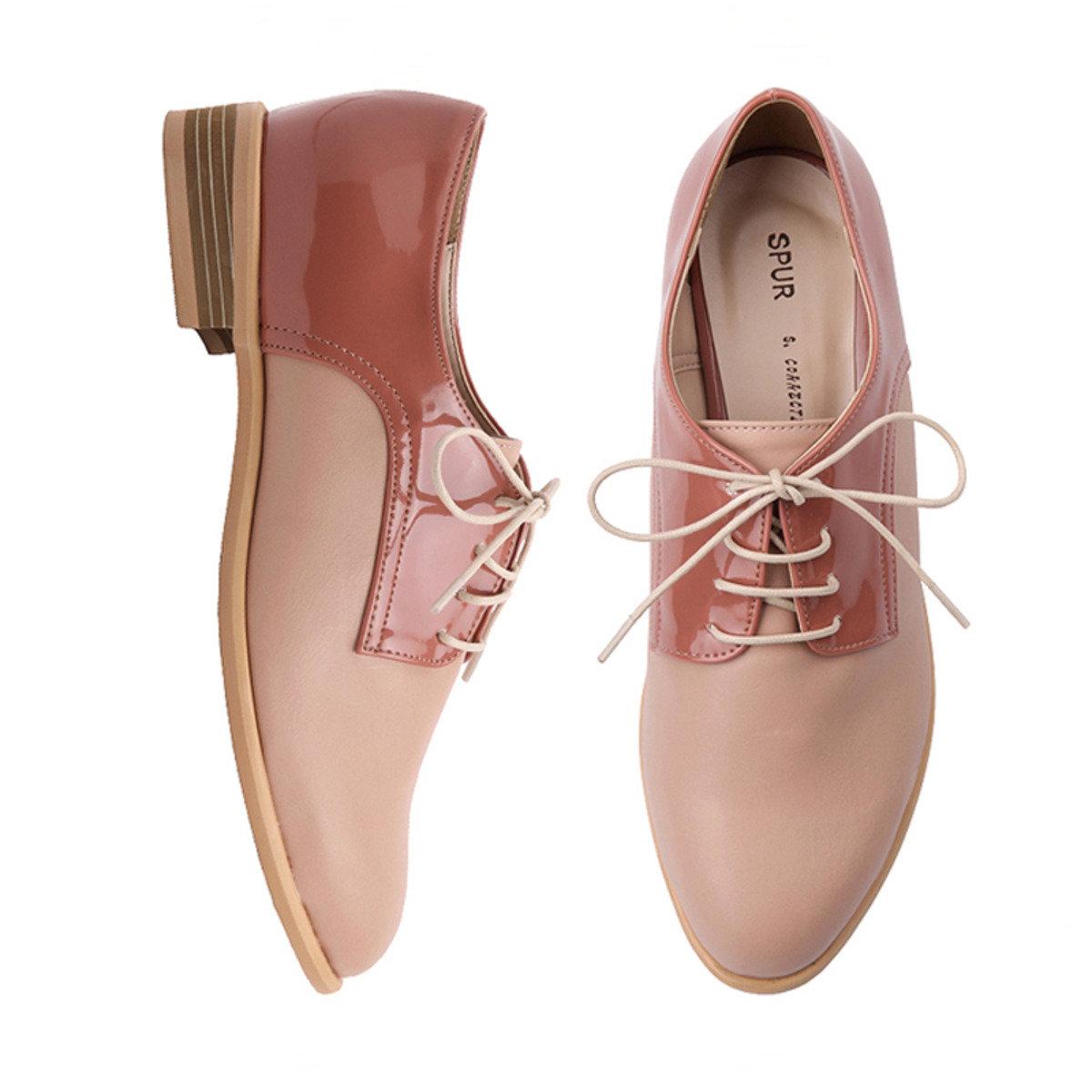 光滑拼接牛津鞋