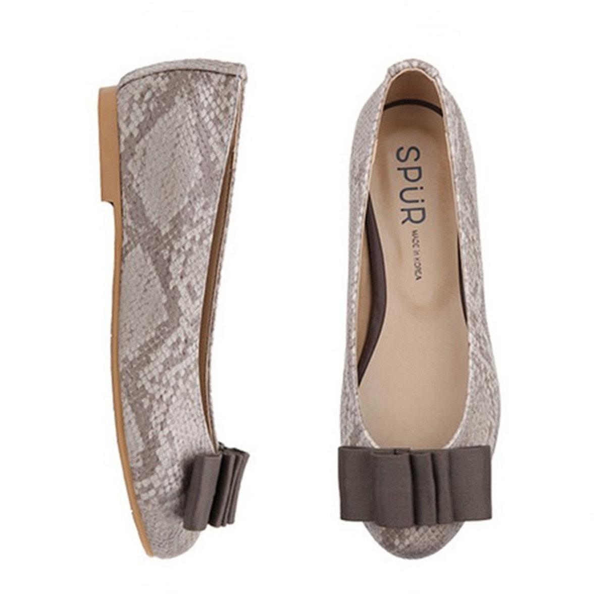 蛇皮紋蝴蝶結平底鞋