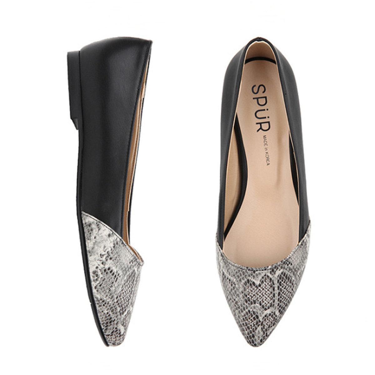 蛇皮紋拼布尖頭鞋