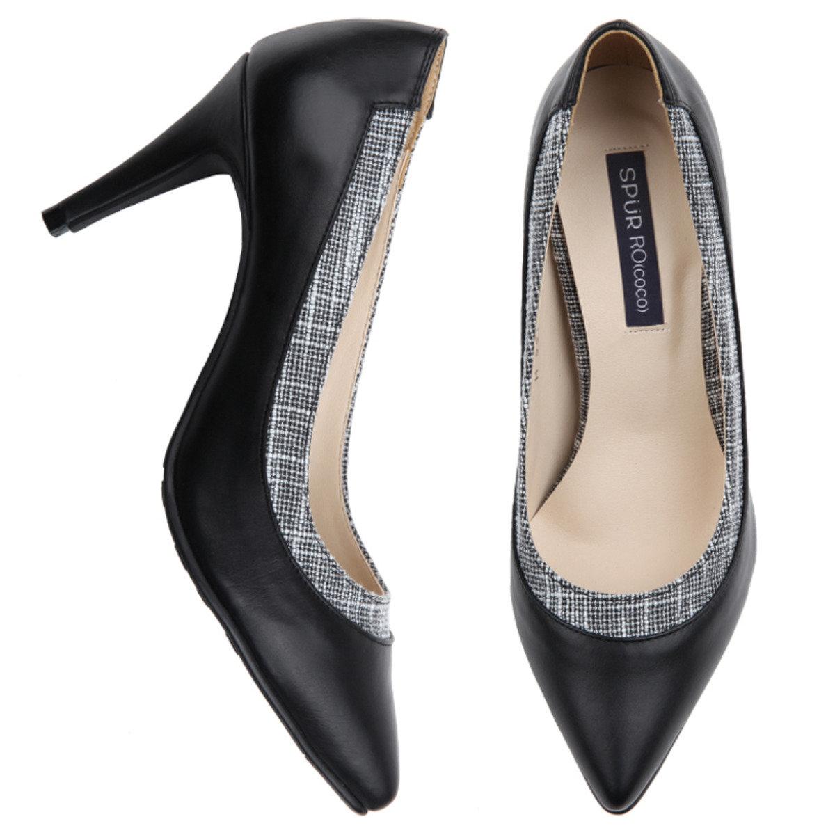 黑白斜紋高跟鞋
