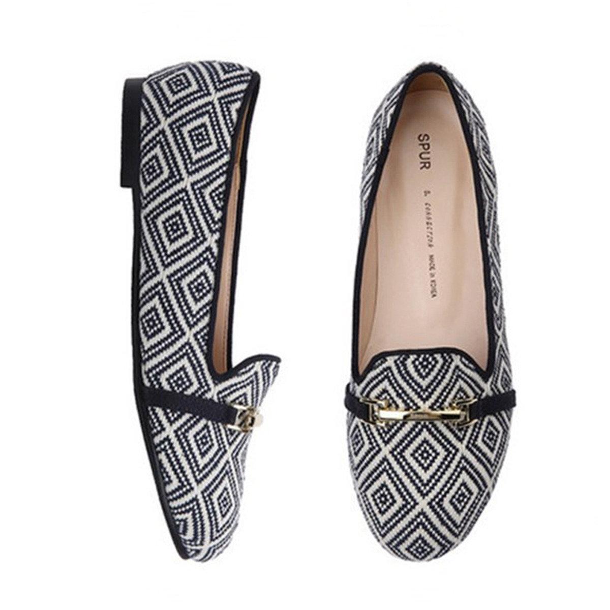 幾何圖案金扣平底鞋