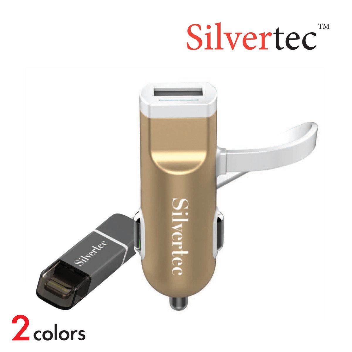 Silvertec C02 USB汽車充電器+二合一線 (金/灰)