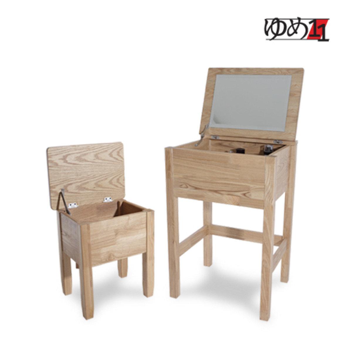 木製化妝桌連收納椅