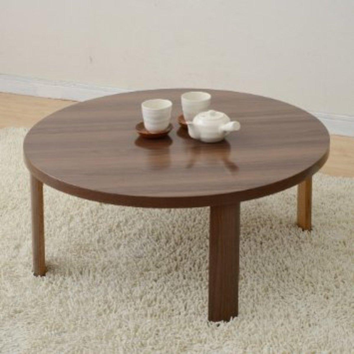 折疊茶几 80cm圓形 深木色