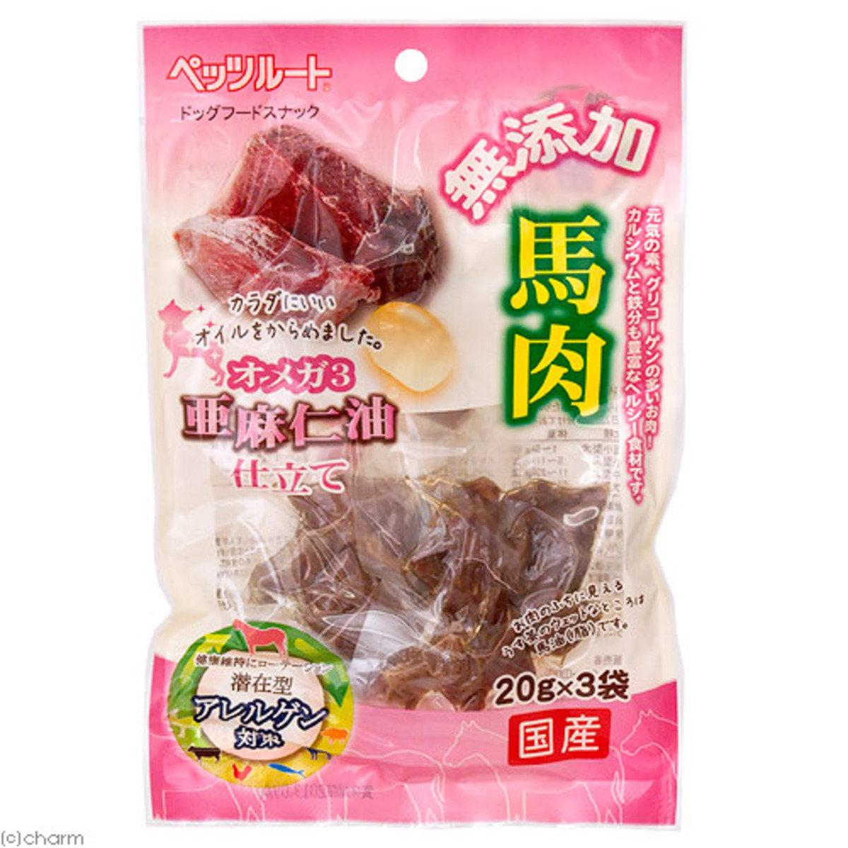 日本 PETZROUTE 亞麻子油馬肉 20gx3