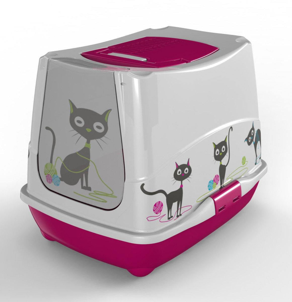 MODERNA Funny Cat 有蓋貓砂盆 - 粉紅色