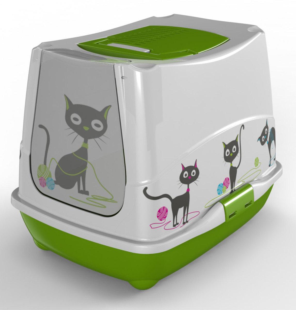 MODERNA Funny Cat 有蓋貓砂盆 - 粉綠色