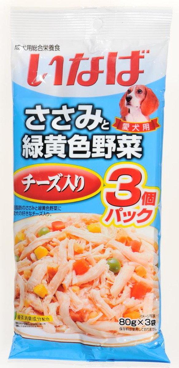 日本 INABA 綠茶雞肉蔬菜芝士濕糧 80g x 3