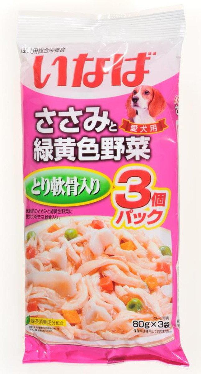 日本 INABA 綠茶雞蔬菜雞軟骨濕糧 80g x 3