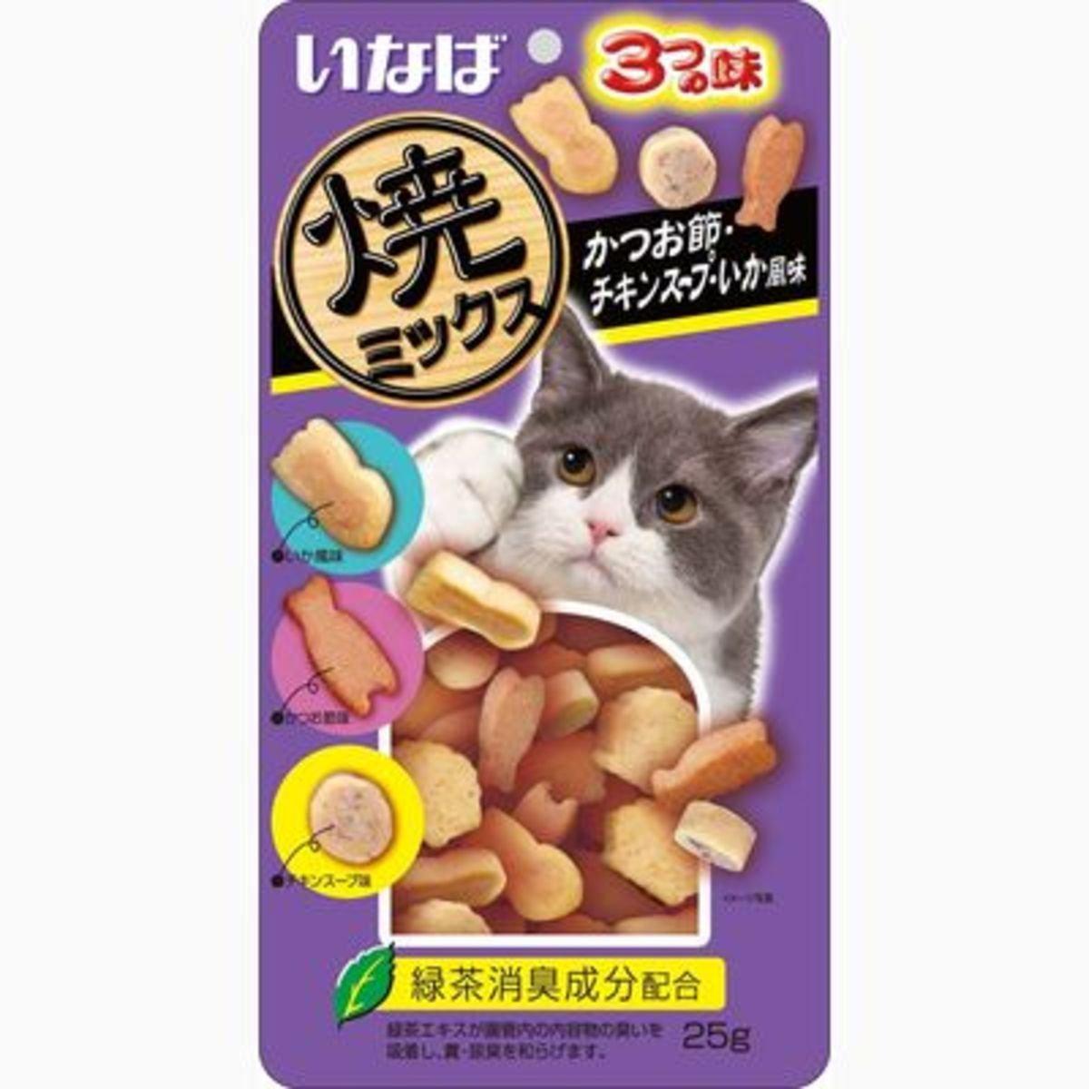 INABA 綠茶烤鰹魚雞肉魷魚塊 QSC-122