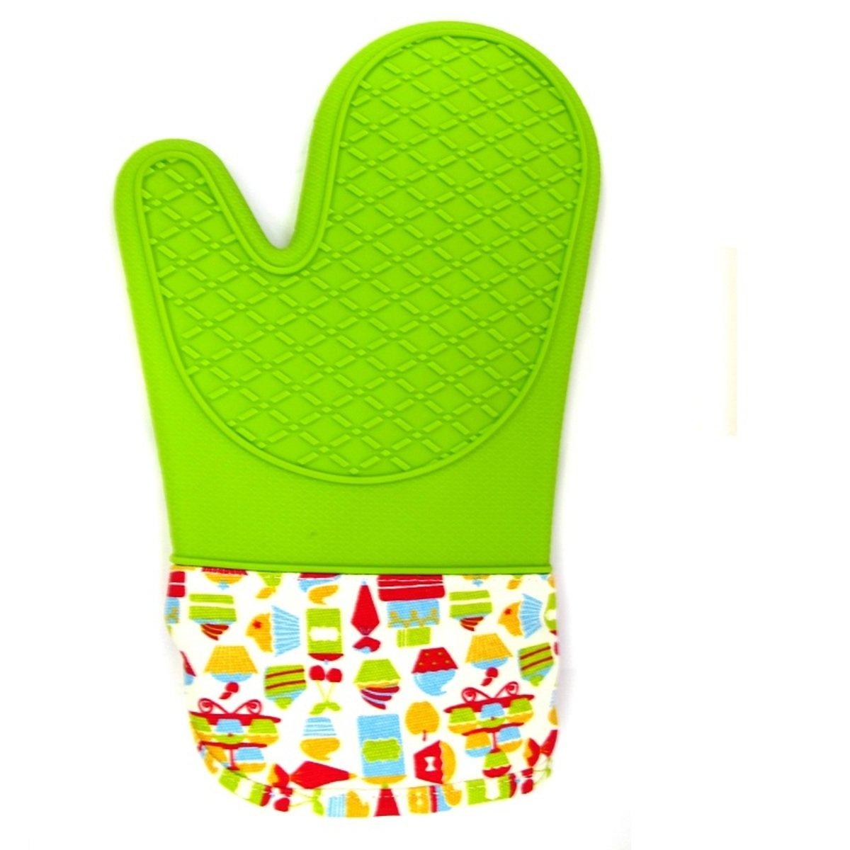 GK 耐高溫手套 (對裝)-緑色硅膠+布手袖 - 小蛋糕圖案