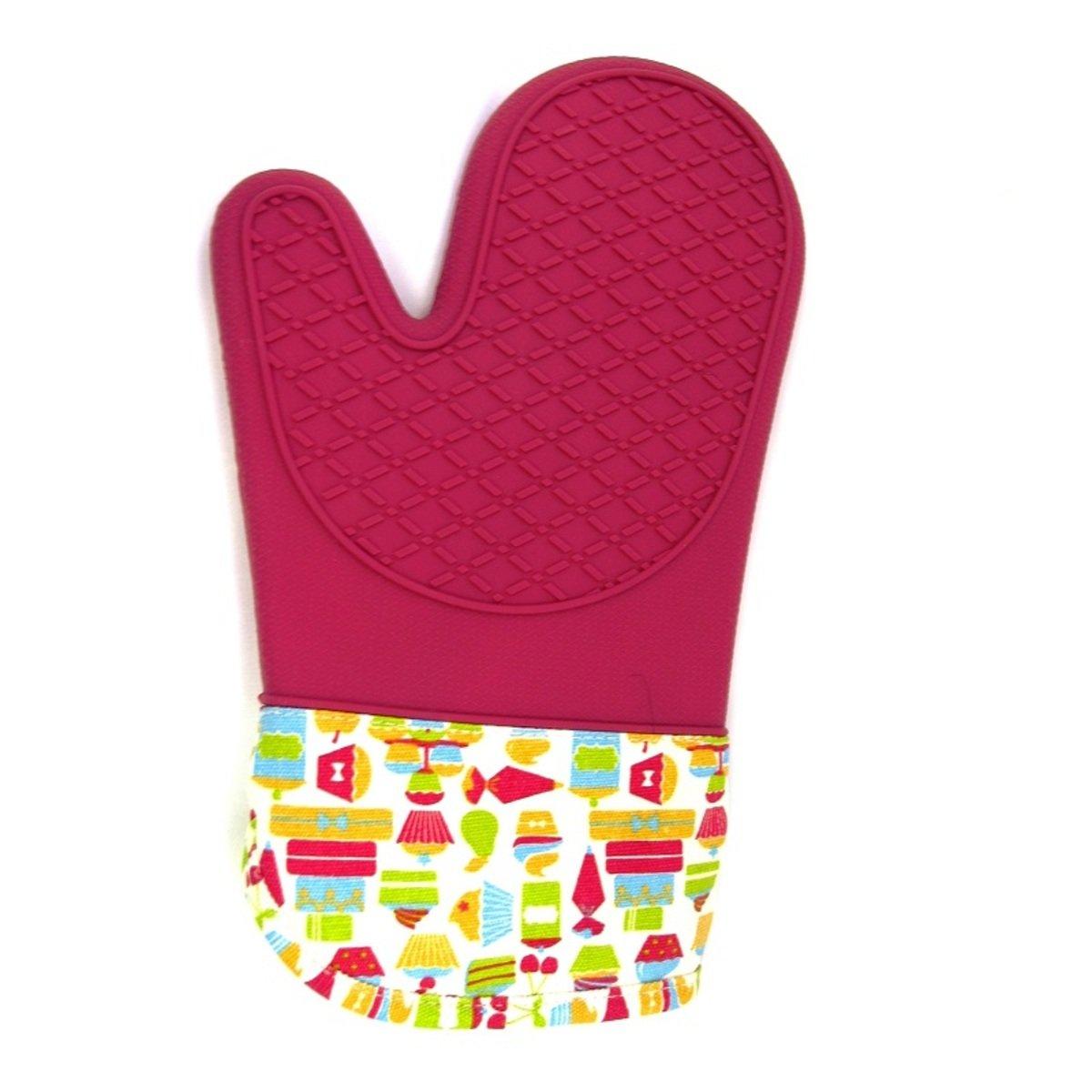 GK 耐高溫手套 (對裝)-紅色硅膠+布手袖 - 小蛋糕圖案