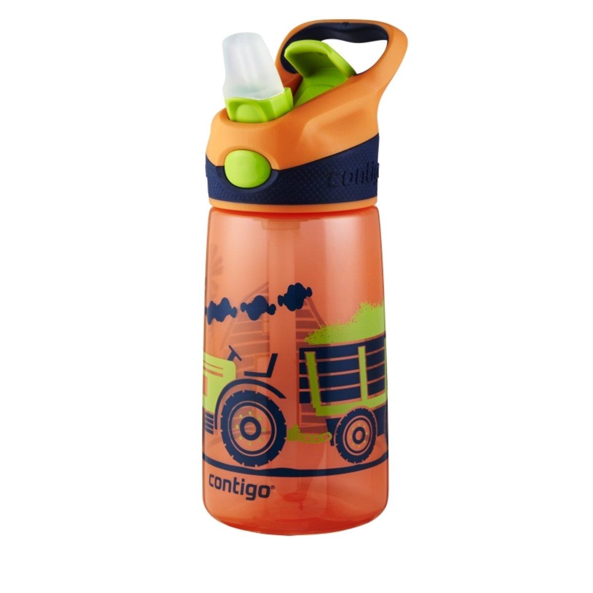 Striker 兒童自動吸管杯 - 橙色拉機