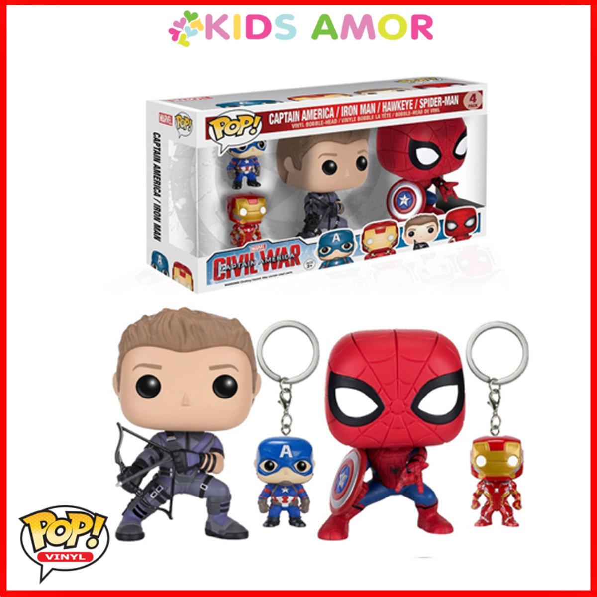 POP! 限量版孖裝: 鷹眼 + 蜘蛛俠 + 兩個鎖匙扣