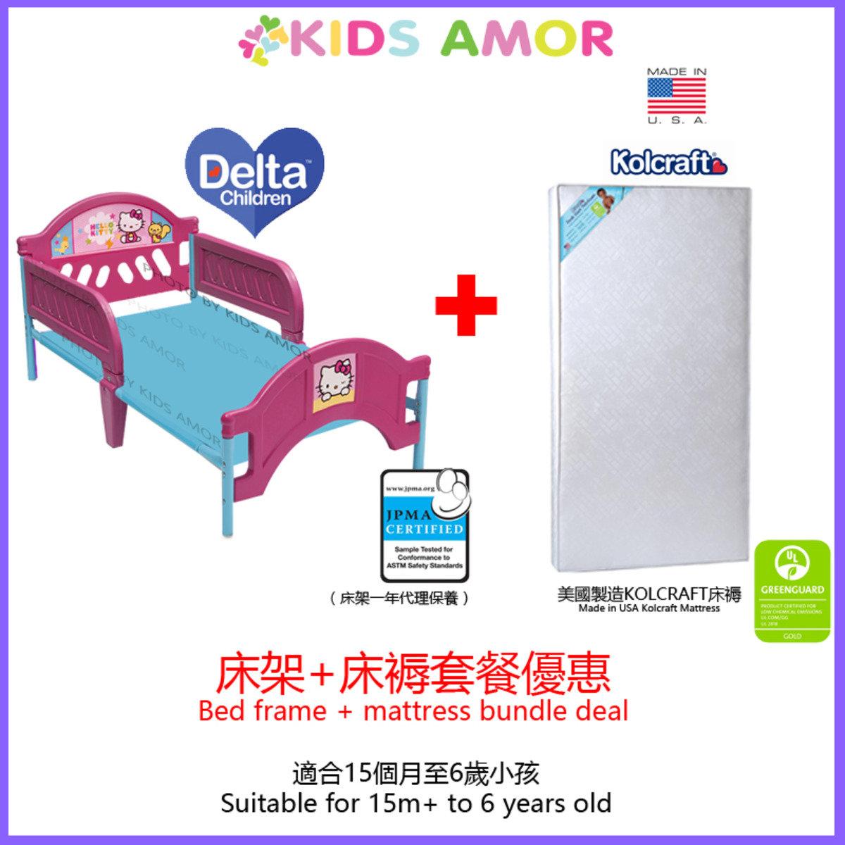 [套餐] HELLO KITTY兒童床架 + 美國製造 Kolcraft 床褥