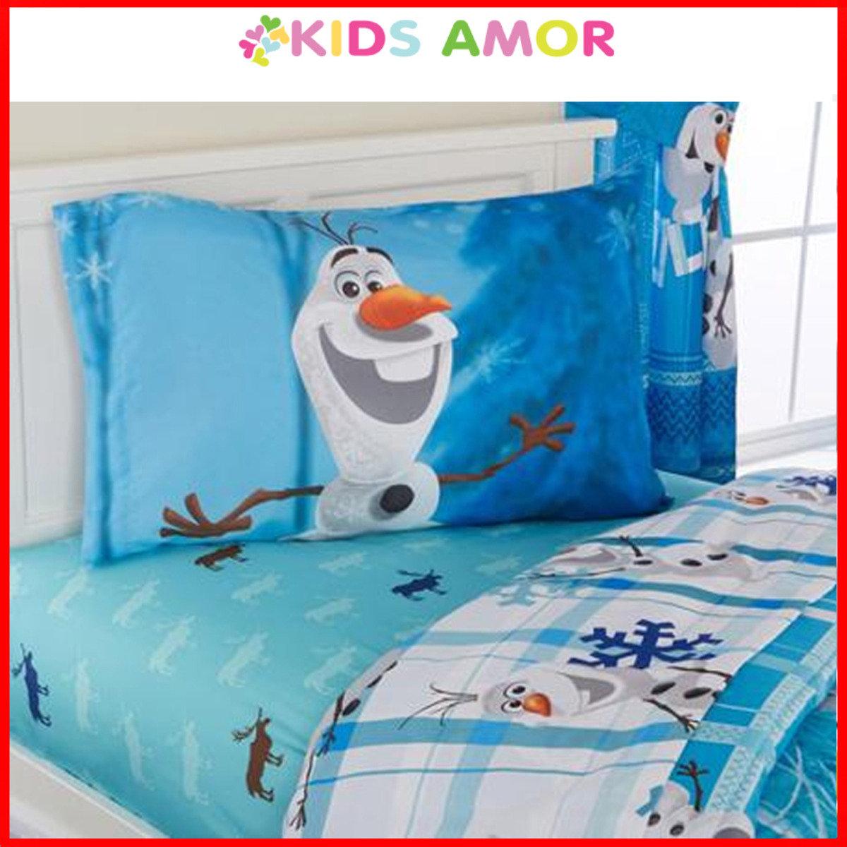 [高清HD]迪士尼魔雪奇緣小白雪人Olaf床單3件套-單人尺寸(適合3'x6'床)