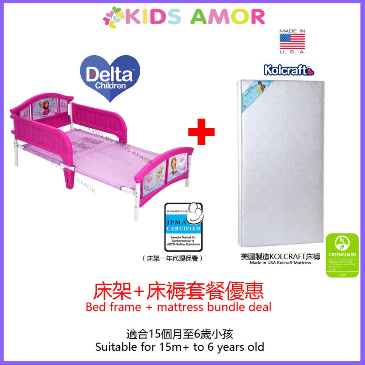 【套餐】迪士尼魔雪奇緣兒童床架 + 美國製造 Kolcraft 床褥