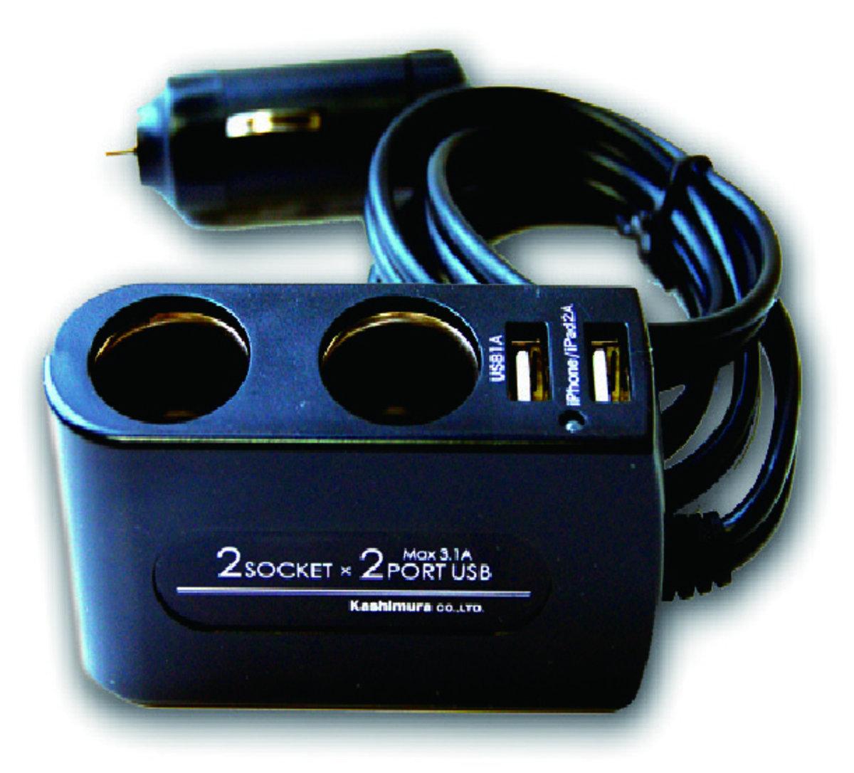 KX-177車用擴展插座連USB充電器 (帶線式) / 車充