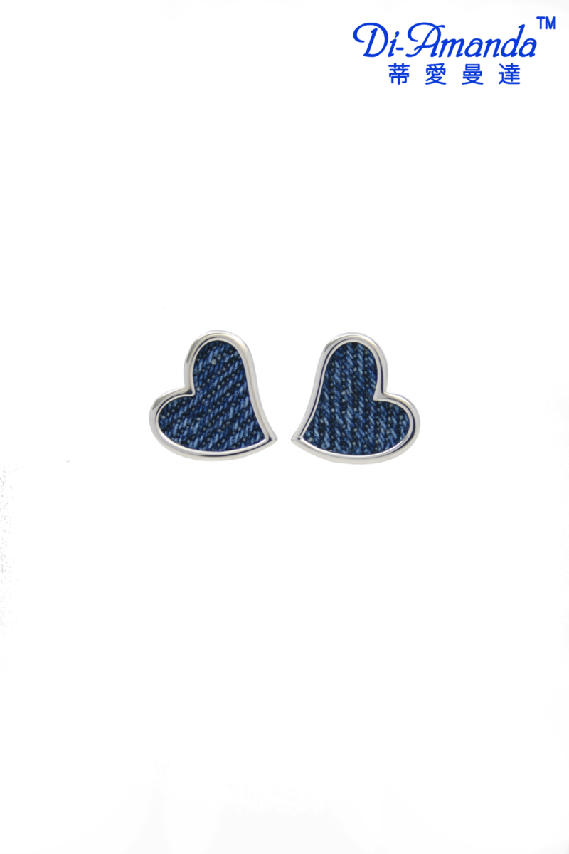 牛仔布心型銀耳環