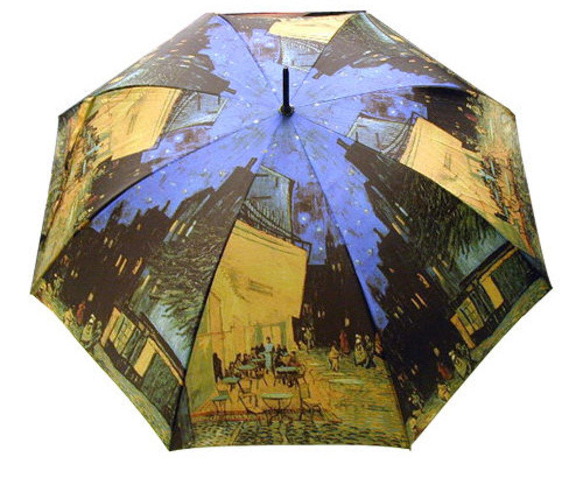 晴雨兩用雨傘連手杖(梵高-星空下的咖啡館)