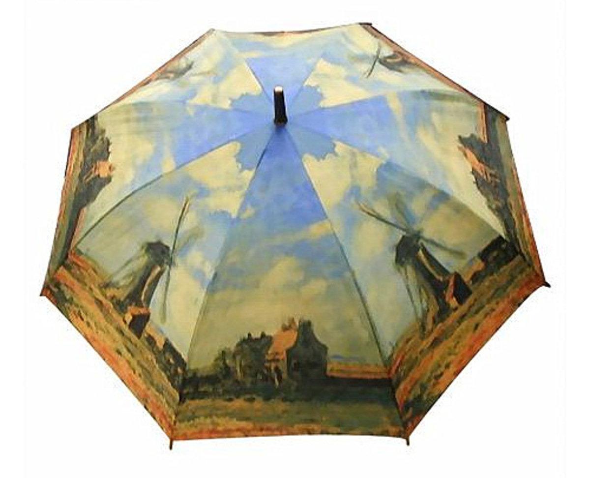 晴雨兩用雨傘連手杖(梵高-莫內風車)