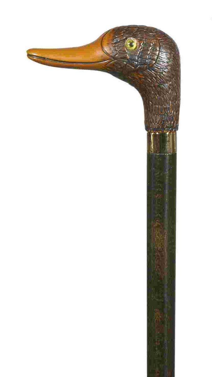 棕色鴨頭實木手杖