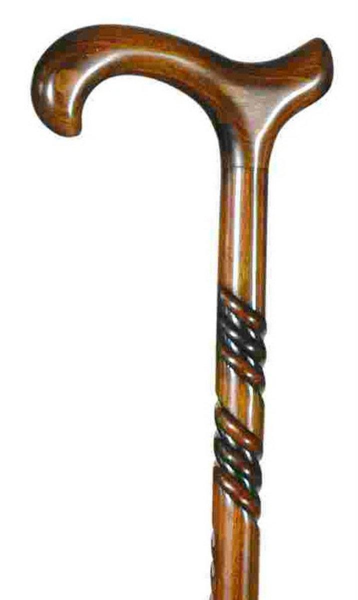 打吡實木扭紋手杖 - 深色紋