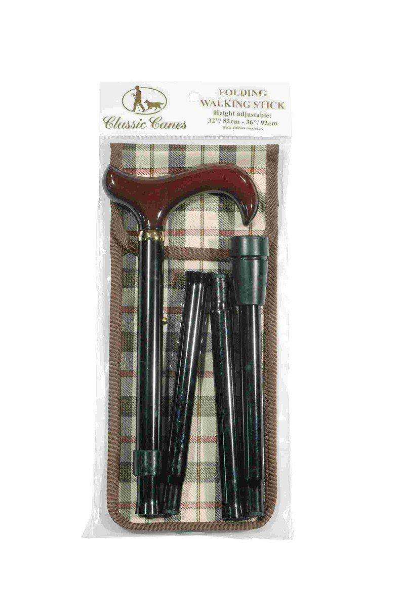 可摺式手杖連袋套裝 - 酒紅木柄